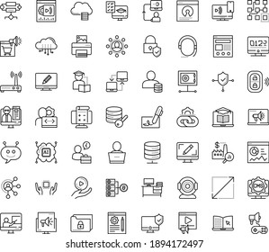 Thin outline vector icon set with dots - Webdesign vector, Digital marketing, Video, Blog management, Affiliate, eLearning, Distance Learning, Exam, Online Training, Self, Webinar, Clustering, CMS