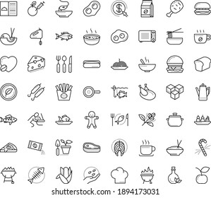Thin outline vector icon set with dots - vomiting vector, gingerbread man, candy cane, Gardening, seeds, restaurant menu, starters, Fish, BBQ and Grill, Pasta, seafood, chicken, vegetarian, perch