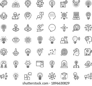 Thin outline vector icon set with dots - innovation vector, tactics, hr strategy, Social media marketing, Creative campaign, solutions, Game based Learning, Entrepreneurship, Business incubator