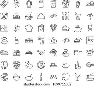 Thin outline vector icon set with dots - restaurant menu vector, starters, Soup, Fish, main dish, chef, Beverage, Pasta, drinks, sandwich, seafood, chicken, vegetarian, dating, steak, sardine, eel