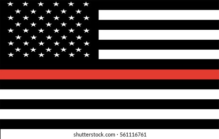 Thin Red Line Firefighter Flag Vector. USA flag. remembering, memories on fallen fire fighters officers on duty. Firefighter members honor.