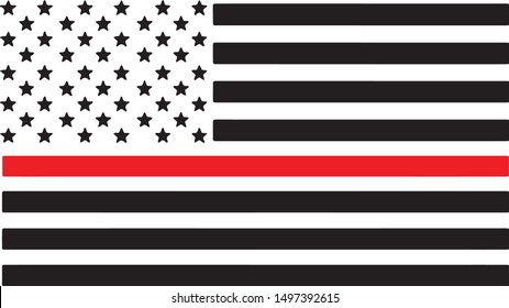 Thin Red Line Firefighter Support Silhouette Vector