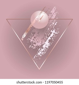 Thin rose gold triangular frame, 3d ball, dusty rose, white and golden brush strokes on a pink background.
