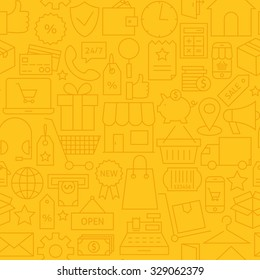 Thin Shopping Business Line Commerce Yellow Seamless Pattern. Vector E-commerce and Marketplace Design and Seamless Background in Trendy Modern Line Style. Thin Outline Art