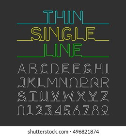 Thin Single Line font, alphabet and numbers. Vector illustration.