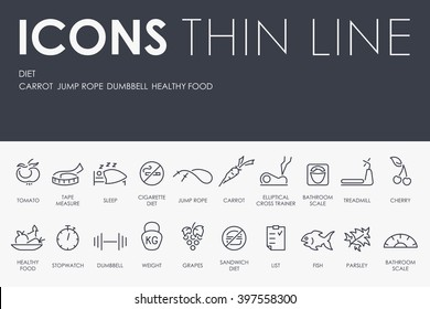 Thin Stroke Line Icons of Diet on White Background