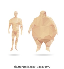 Thin and thick men abstract isolated on a white backgrounds