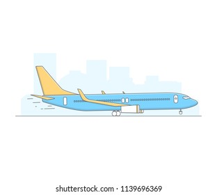 Thine Line art Airplane on airport background for web icons. ilustration vector symbol.