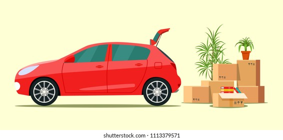 Things in the box next to the trunk of the car. Moving with boxes.  Vector flat style illustration