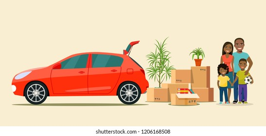 Things in the box next to the trunk of the car. Moving with boxes. Happy afro american family.  Vector flat style illustration