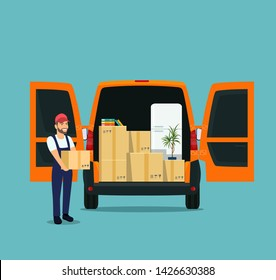 Things in box in the trunk of the cargo van. Man with cardboard boxes. Moving House. Vector flat style illustration.