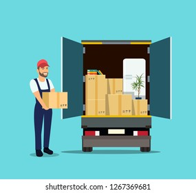 Things in box in the trunk of the truck. Man with cardboard boxes. Moving House. Vector flat style illustration