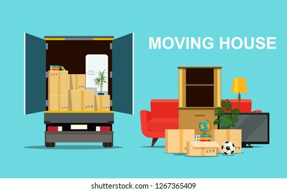 Things in box in the trunk of the truck. Moving House. Vector flat style illustration
