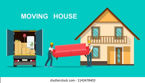 Things in box in the trunk of the truck. Two workers are carrying a sofa. Moving House. Vector flat style illustration