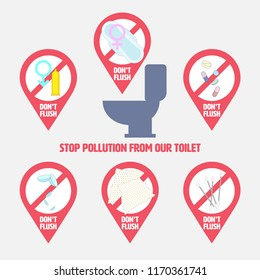 Things don't flush down the toilet object set. Elements for creating your own artwork. Stop pollution from our toilet concept. Vector illustration.