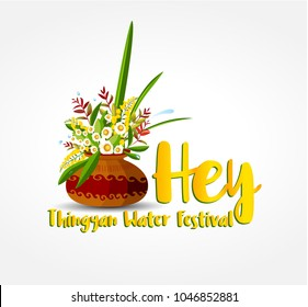 Thingyan, Myanmar Traditional Assorted Flower Pot, Water festival , Asia,