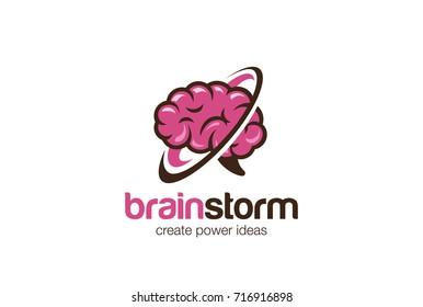 Think Brain Mind Logo design vector template. Brainstorm generate ideas Logotype concept icon.