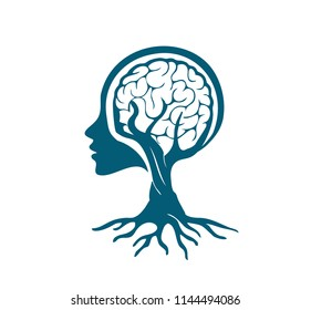 think brain roots vector
