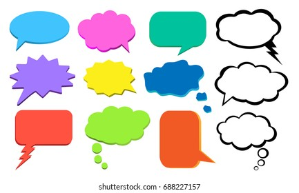 Think bubble, colorful cloud of thoughts, vector set
