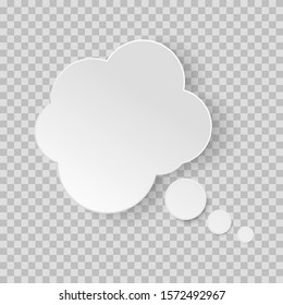 Think bubble. Dream cloud isolated on white background. White vector speech bubbles. Comic discussion speak balloon set. Cartoon think box. on transparent background