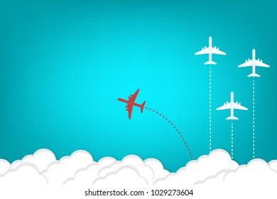 Think different business concept illustration, Red airplane changing direction and white ones. New idea, change, trend, courage, creative solution, innovation and unique way concept.