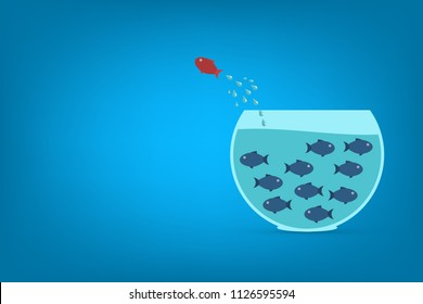 Think different business concept illustration, fish jumping outside the aquarium