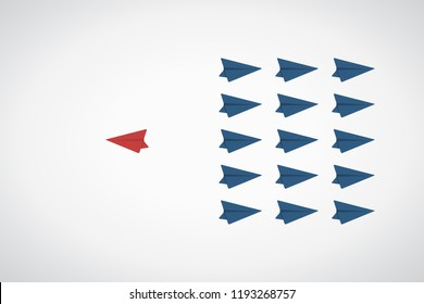 Think different. Think differently concept - One red unique different paper plane flying opposite way of identical blue ones. Courage, confidence, success, crowd and creativity concept. EPS 10 vector