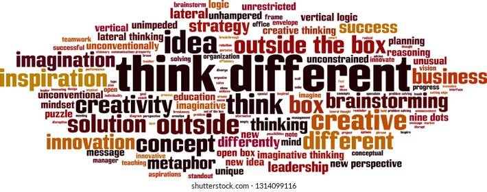 Think different word cloud concept. Vector illustration