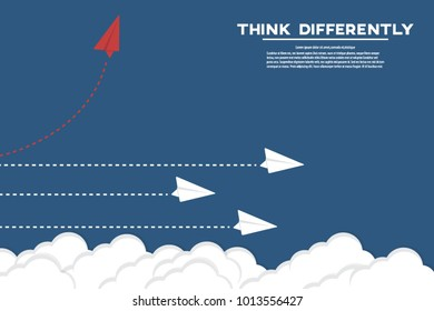 Think differently - Being different, move for success in life. Red airplane changing direction and white ones. New idea, change, trend, courage, creative solution, innovation and unique way concept.