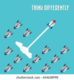 Think differently - Being different, move for success in life -The graphic of rocket  represents the concept of courage, enterprise, confidence, belief, fearless, daring,stand out of the crowd concept