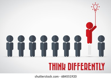 Think differently - Being different, move for success in life - flying out from the crowd by light bulb of idea