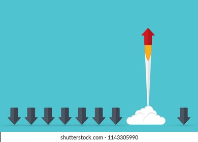 Think differently - Being different, taking risky, move for success in life -The graphic of arrow also represents the concept of courage, enterprise, confidence, belief, fearless, daring,