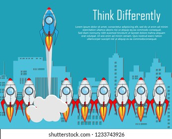 Think differently - Being different, taking risky, move for success in life -The graphic of rocket also represents the concept of courage, enterprise, confidence, belief, fearless, daring,