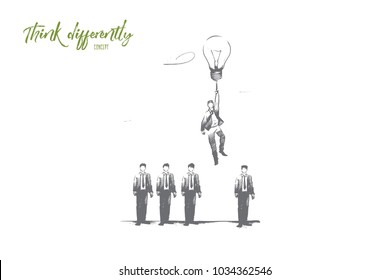 Think differently concept. Hand drawn person with lightbulb in hand as symbol of new idea. Man flying from crowd with light bulb isolated vector illustration.