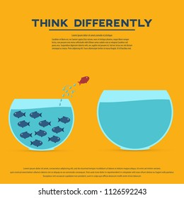 Think differently concept. Red fish jumping outside the aquarium into biger one. New idea, change, trend, courage, creative solution, innovation and unique. Vector illustration.