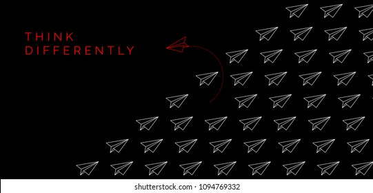 Think differently concept. Red paper plane changing direction. Vector illustration