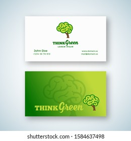 Think Green Abstract Vector Sign or Logo and Business Card Template. Brain Shape Tree Concept with Typography. Premium Stationary Realistic Mock Up. Isolated.