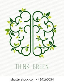 Think green concept design, simple human brain in line art style with nature elements and plant leaves. EPS10 vector.