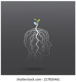 Think green concept. Tree of green idea shoot grow on human head symbol. business and green industrial idea. Vector illustration