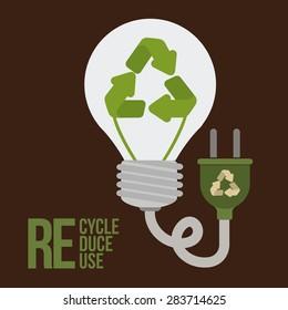 Think green design over brown background, vector illustration