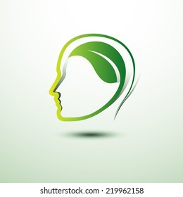 Think green eco concept  icon ,vector illustration