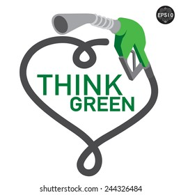 Think green gas pump nozzle . Vector, EPS10