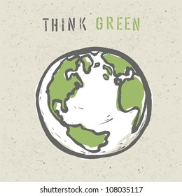 Think green poster design template. Vector, EPS10
