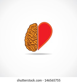 think from heart and brain concept stock vector