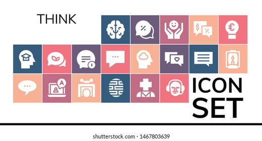 think icon set. 19 filled think icons.  Simple modern icons about  - Brain, Mind, Chat, Trick, Psychology, Commentator, Conversation, Lamp, Talk, Idea
