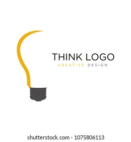 Think Idea Logo Template Bulp Lamp Icon Vector