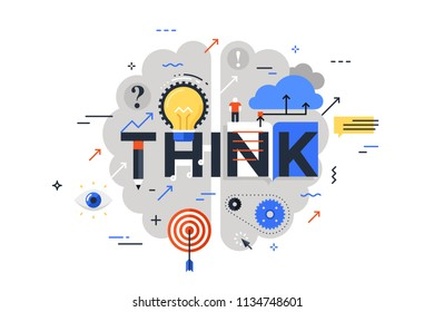 Think line flat design banner for think web page, learning, knowledge, innovation, creativity, solutions. Template for website and mobile application, easy to use and highly customizable.