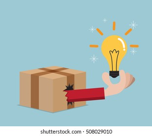 think out of box concept idea vector illustration