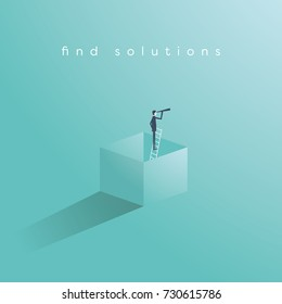 Think outside the box business concept vector with businessman standing on ladder in a box and looking through monoscope as symbol of vision, goal, objective, strategy. Eps10 vector illustration.