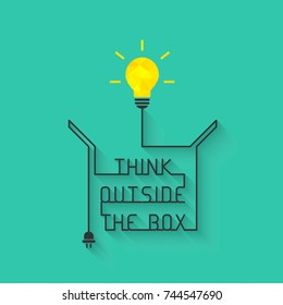 Think outside the box concept with light bulb and wire forming the saying and box itself